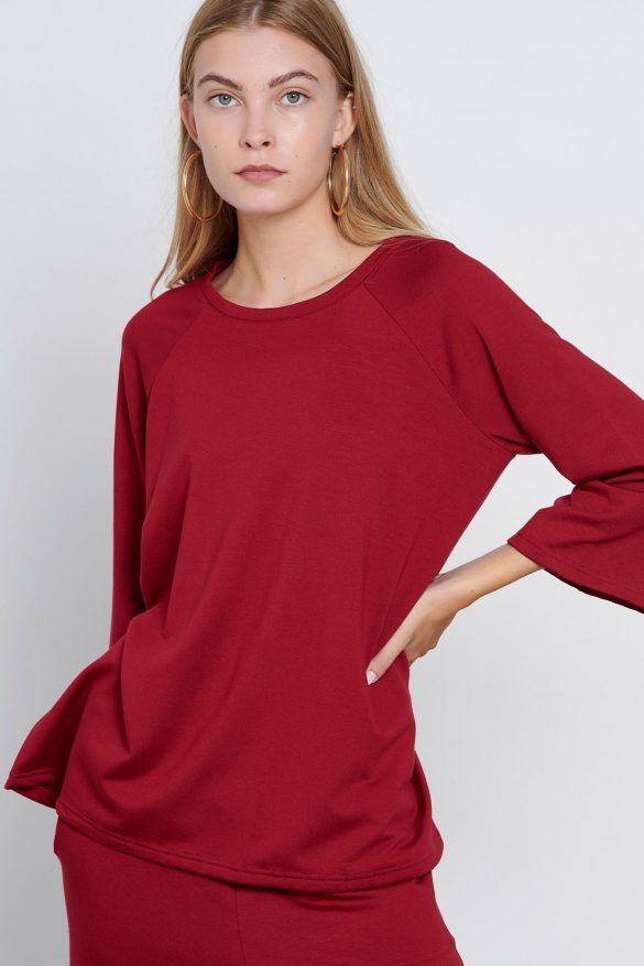 Comfy Blouse Red Midi Sleeves